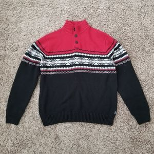 Chaps Pullover Sweater Button Mock Neck Mena Large